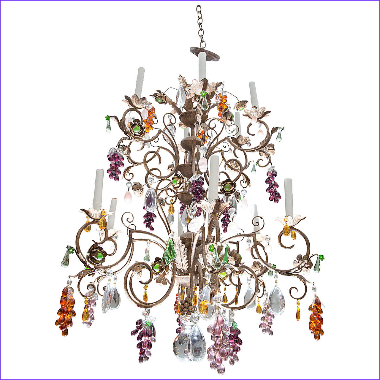 Louis XV Style Twelve Light Iron Chandelier with Colored