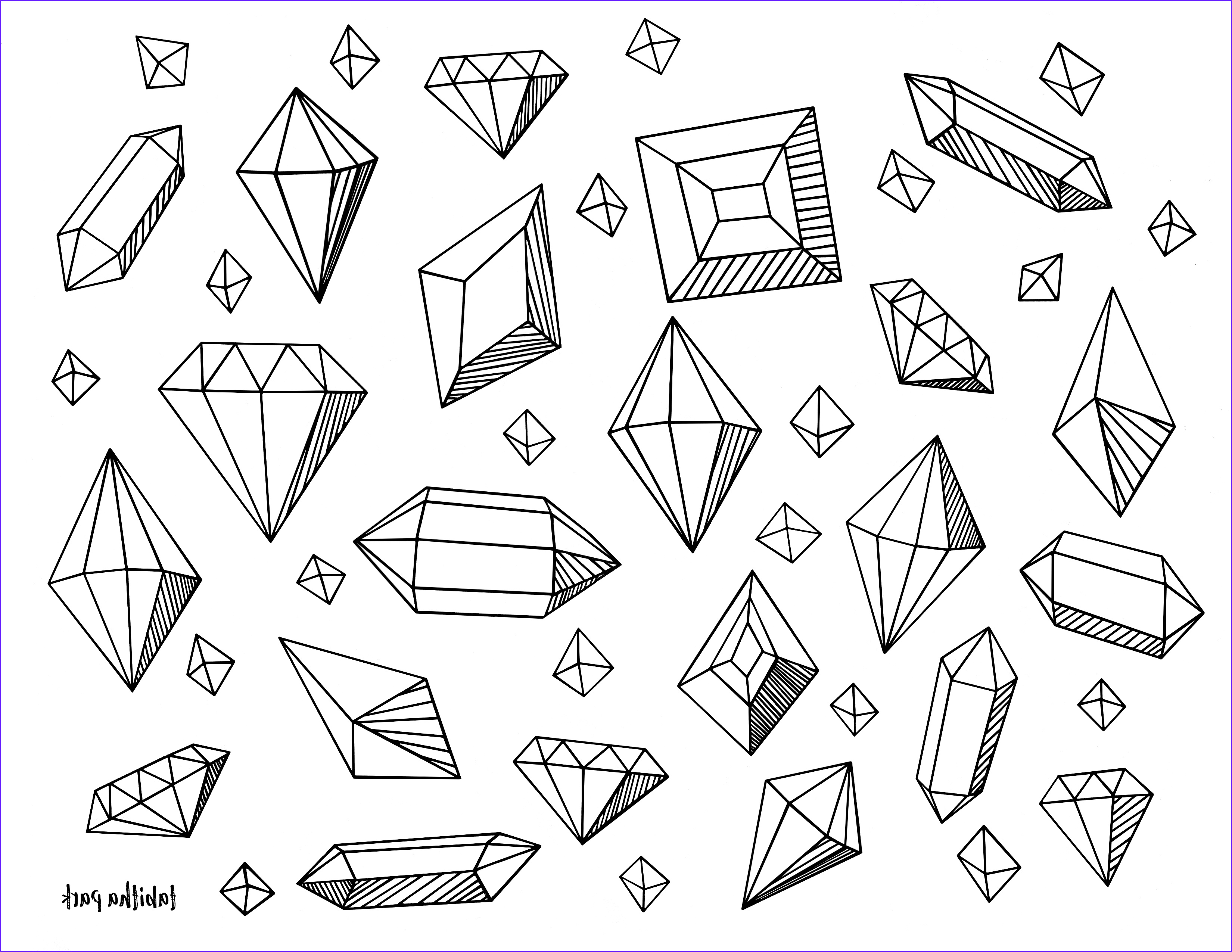 Gems Coloring Page