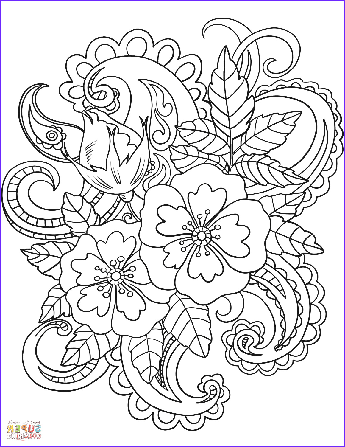 Coloring Design Pages Awesome Gallery Flowers with Paisley Patterns Coloring Page