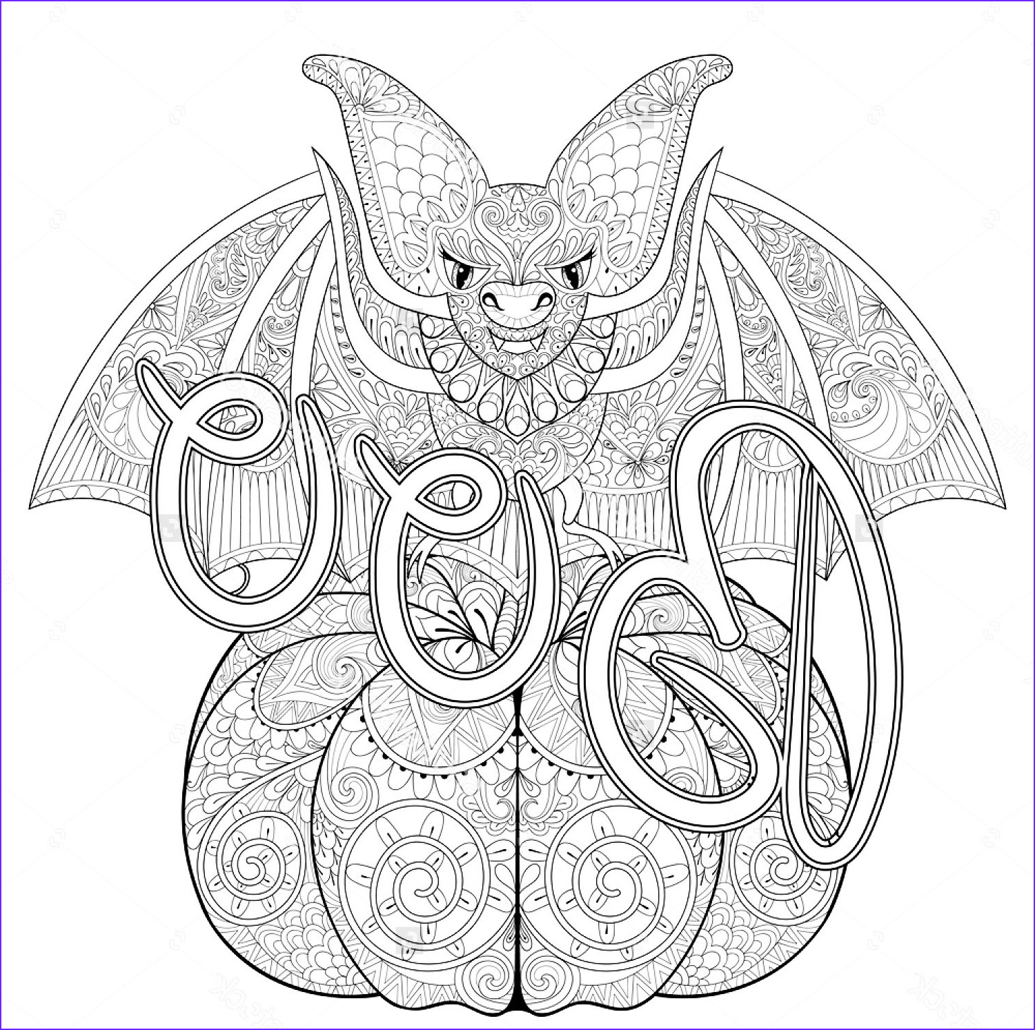 Coloring Pages Halloween Awesome Stock Halloween Zentangle Bat Halloween Adult Coloring Pages