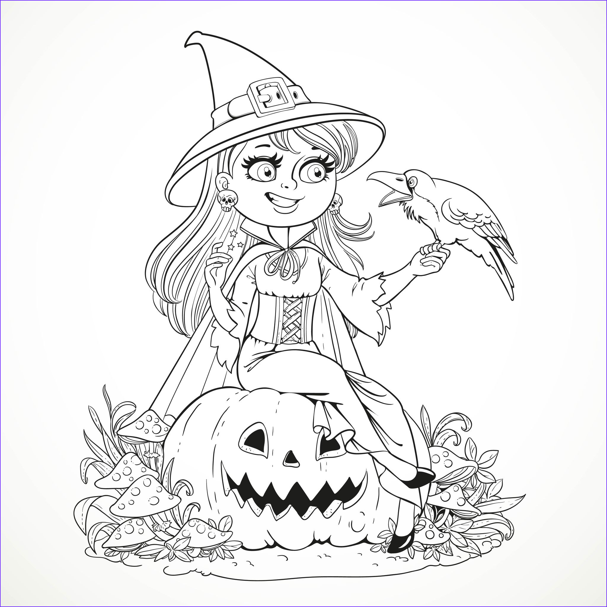 Halloween smiling witch and crow Halloween Adult
