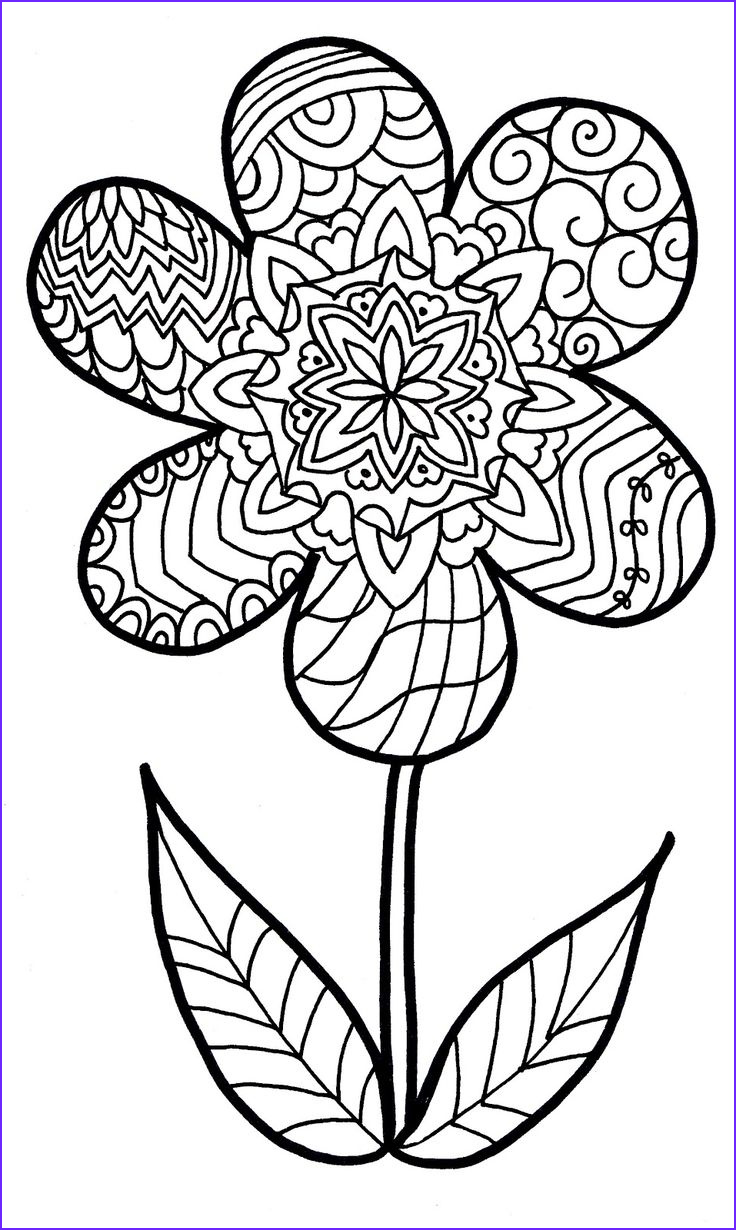 Coloring Pages Of Flowers Awesome Photos Free Funky Flower Printables Google Search