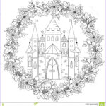 Coloring Therapy For Adults Beautiful Stock Relaxing Coloring Page With Fairy Castle In Forest Wreath