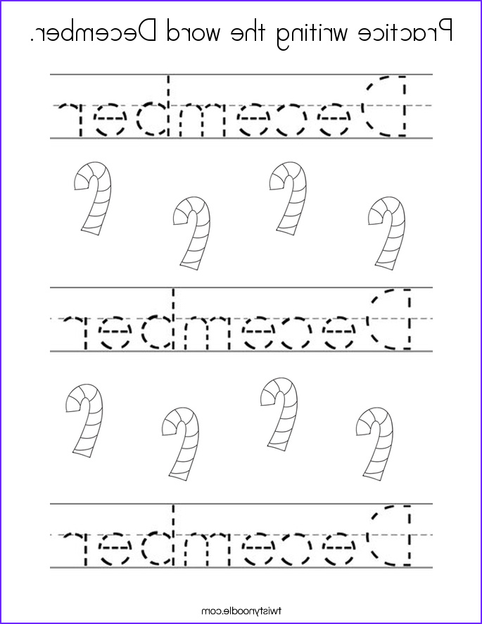 practice writing the word december coloring page