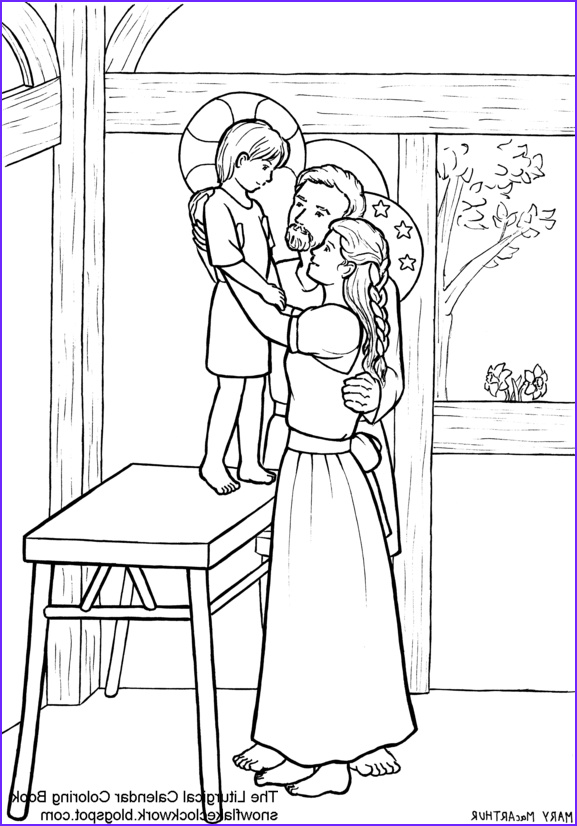 holy family coloring page december
