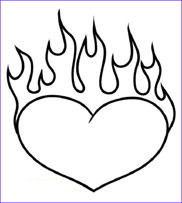 Flames Coloring Pages Awesome Image Coloring Pages Of Hearts with Flames