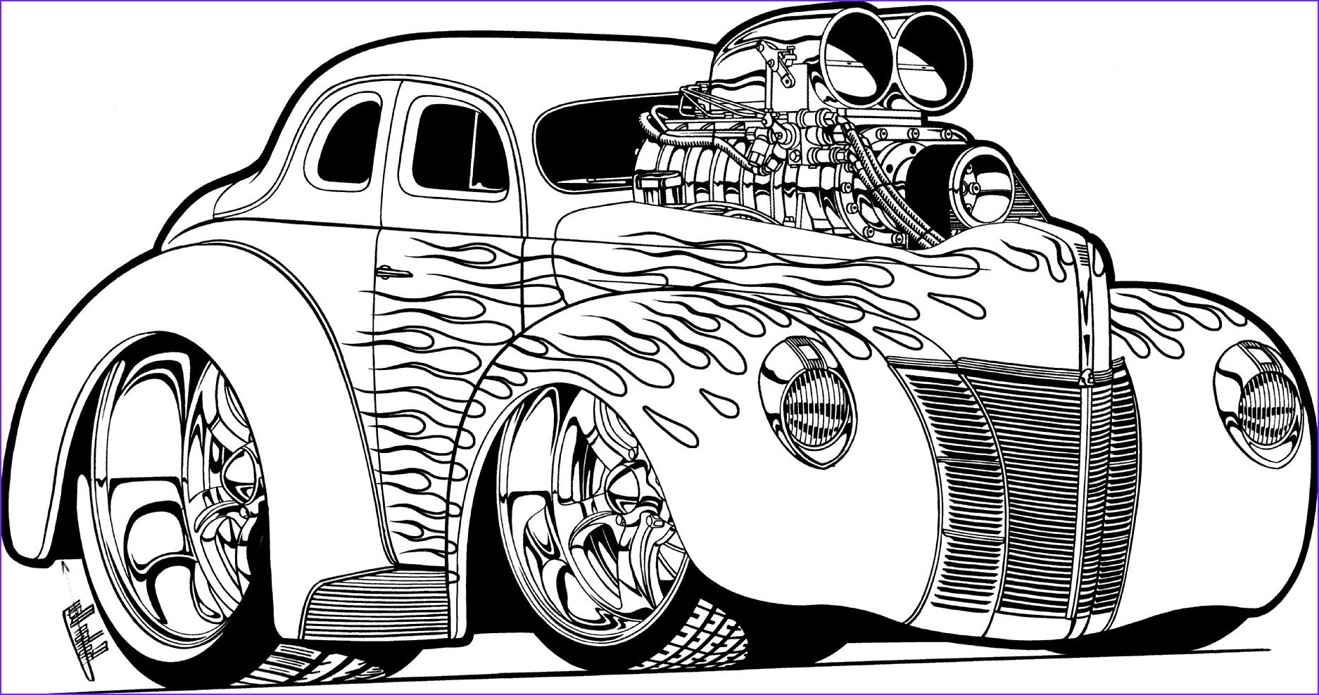 Hot Rod Flames Coloring Cars
