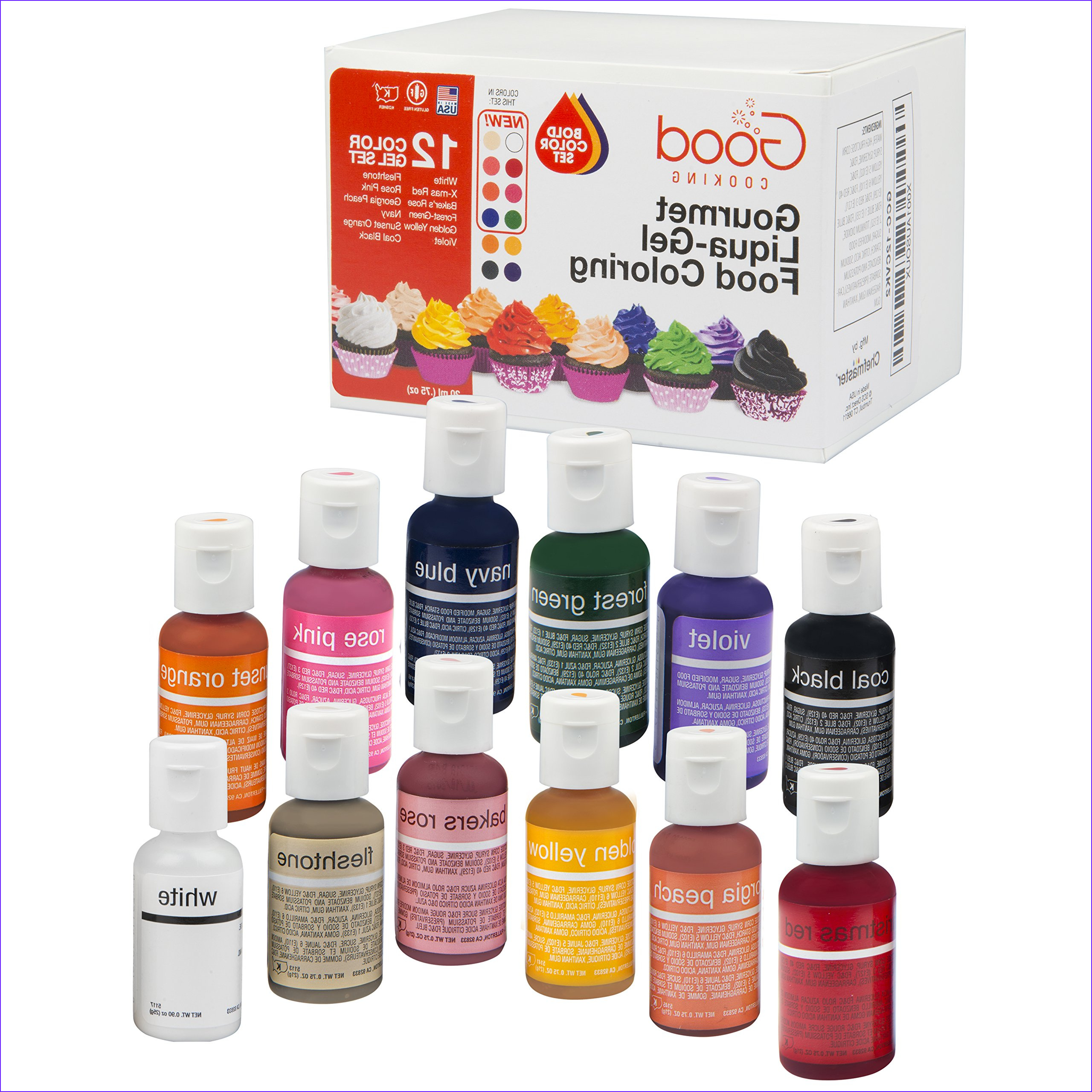 Amazon Food Coloring Liqua Gel 6 Bottle Black and