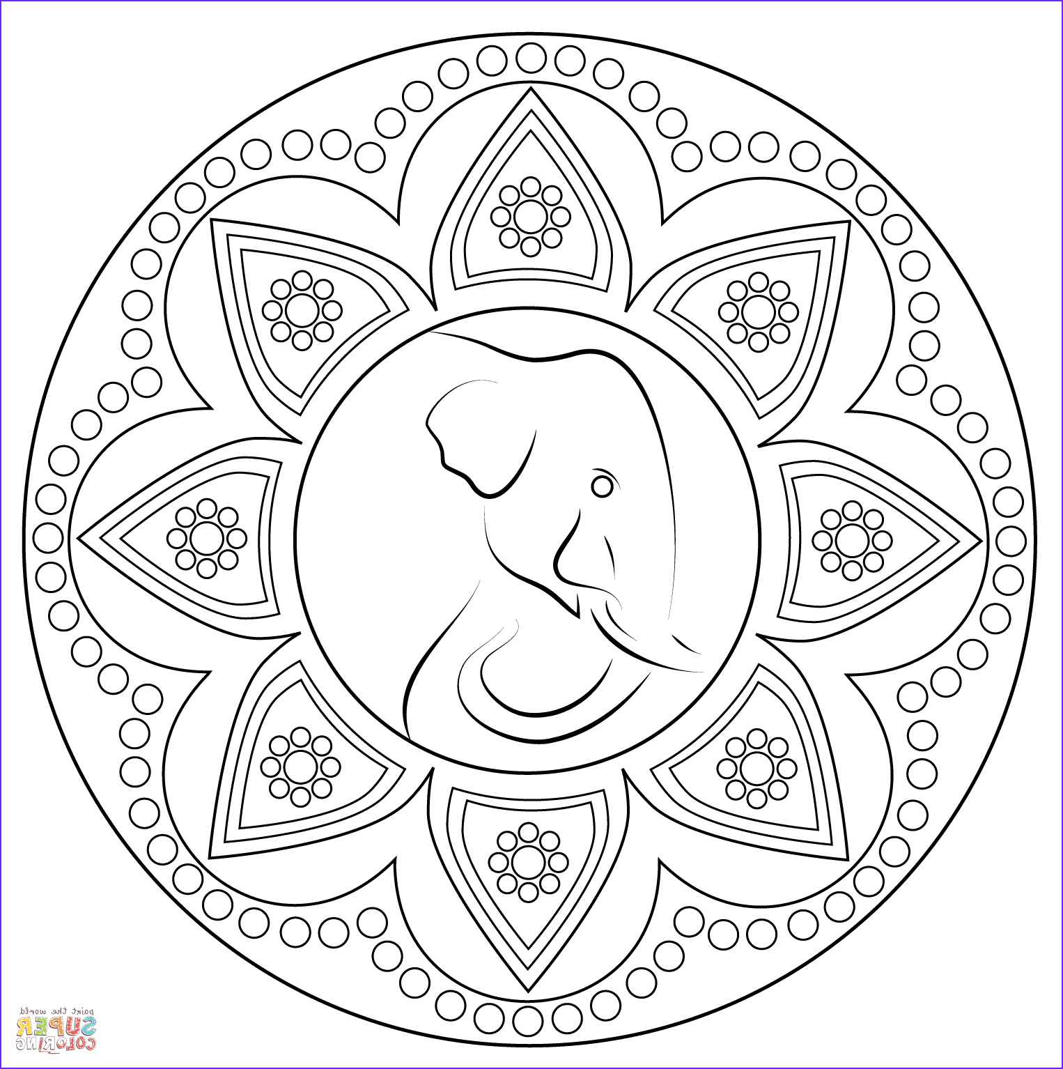 Indian Rangoli with Elephant coloring page