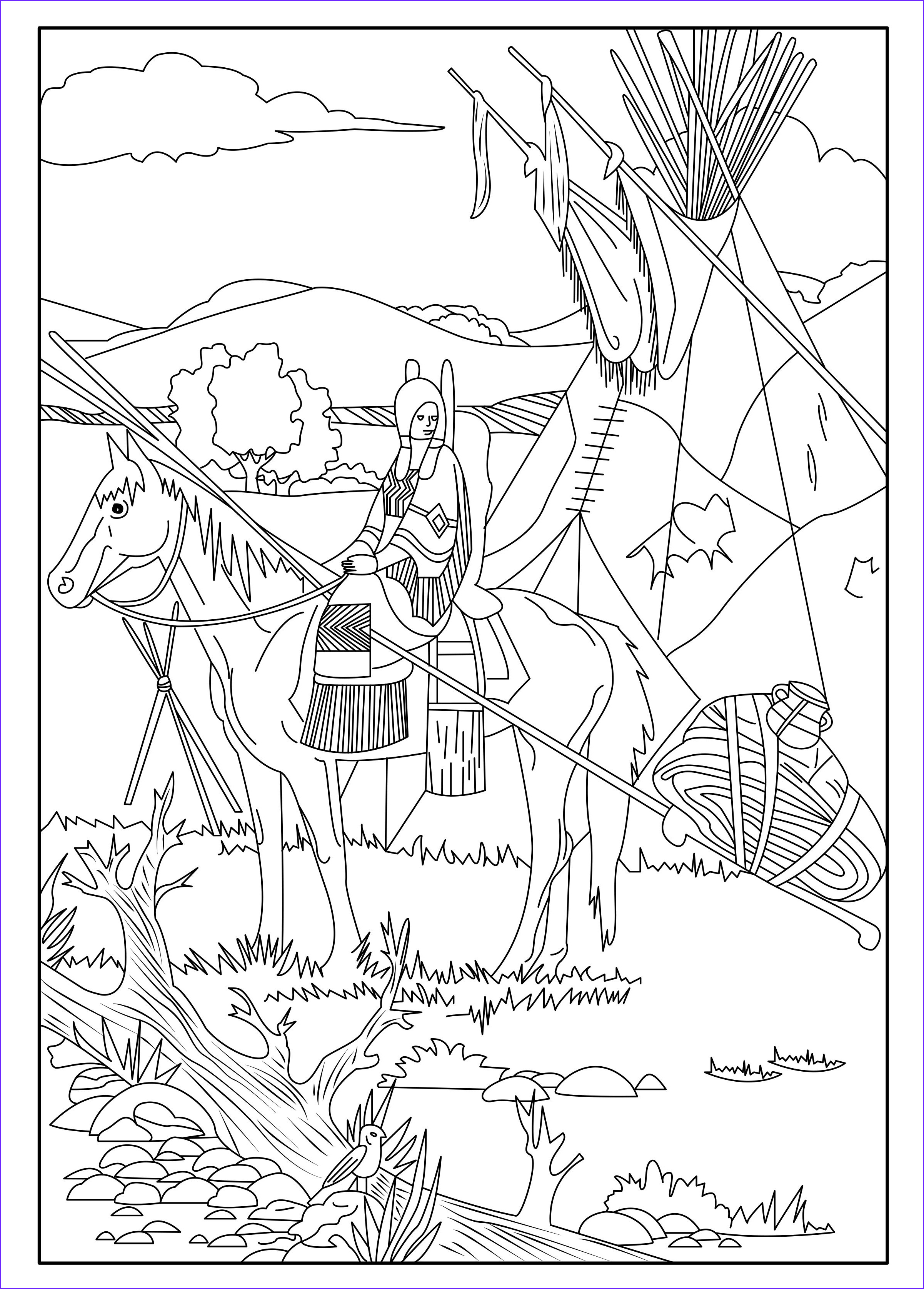 Indian Coloring Book Inspirational Photography This Coloring Page Show A Native American On His Horse