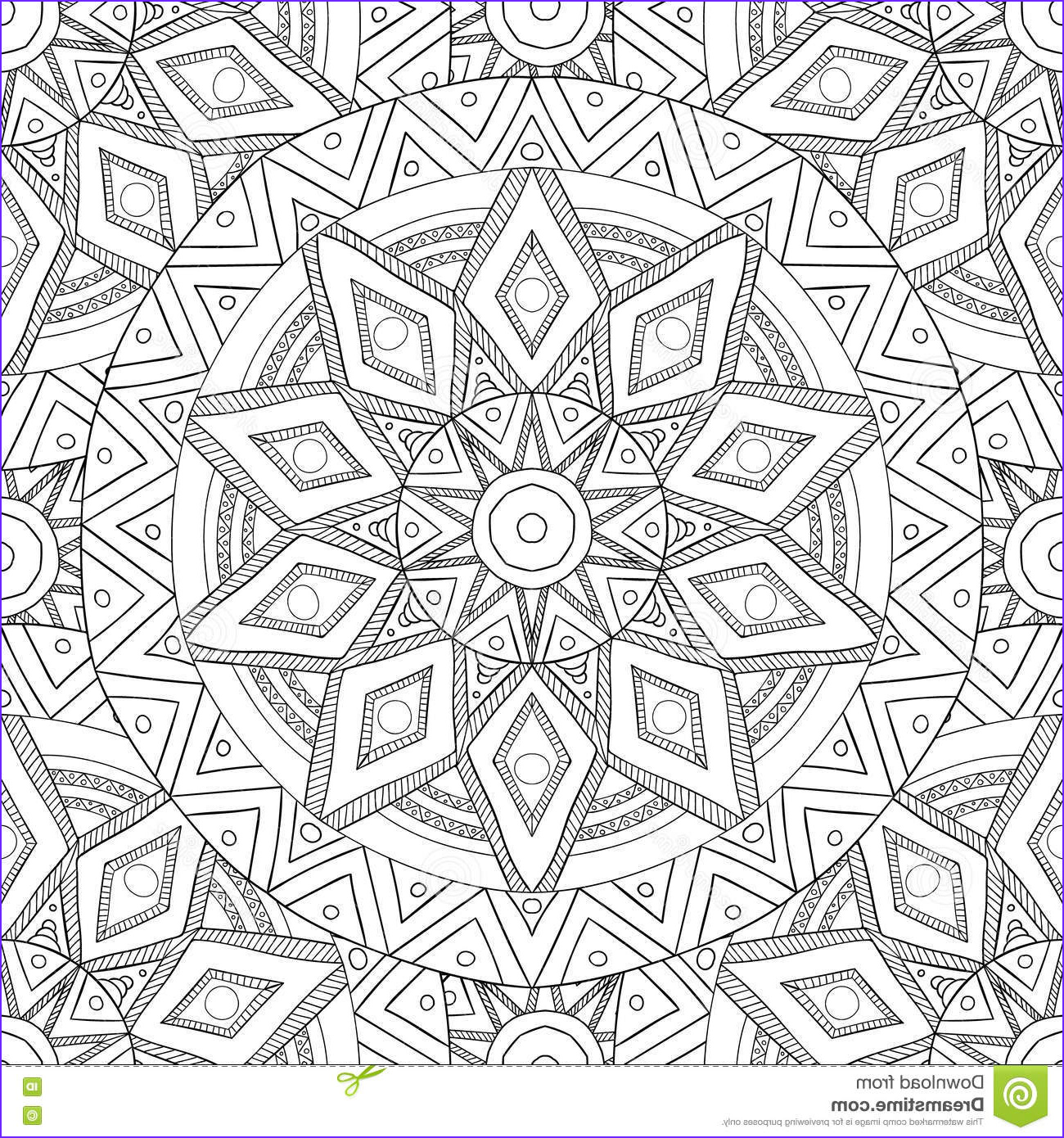 stock illustration coloring pages adults decorative hand drawn doodle nature ornamental curl vector sketchy seamless pattern book mandala image