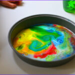 Painting With Food Coloring Elegant Stock Easy Science Experiment For Little Kids Diy Rainbow Milk Art