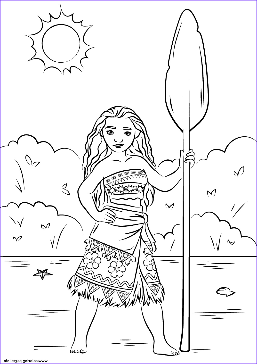 Paper Coloring Beautiful Collection Print Princess Moana Disney Coloring Pages