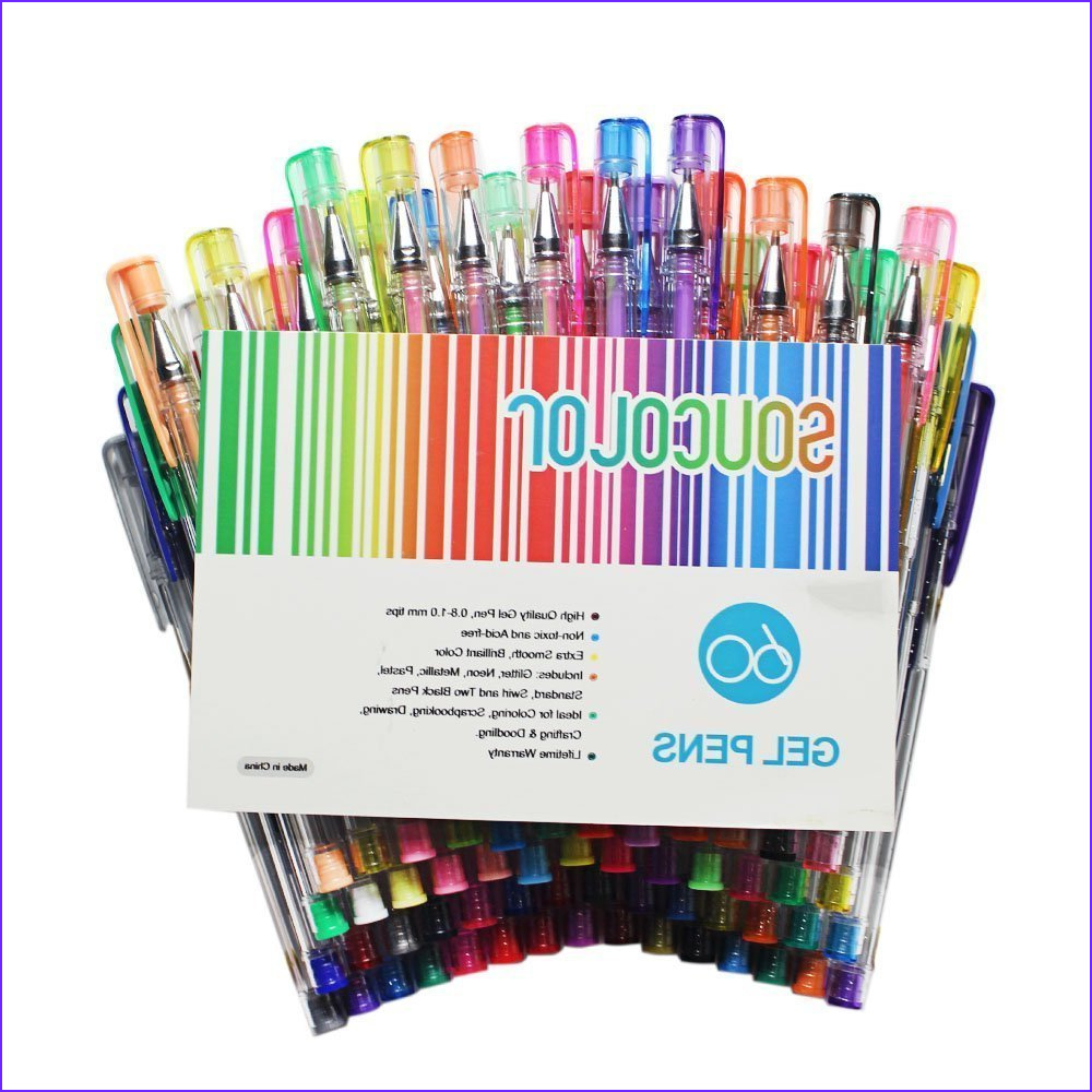 Soucolor Gel Pens for Adult Coloring Books Set of 60