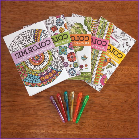 Adult Mini Coloring Books Set of 5 with Gel Pens Walter