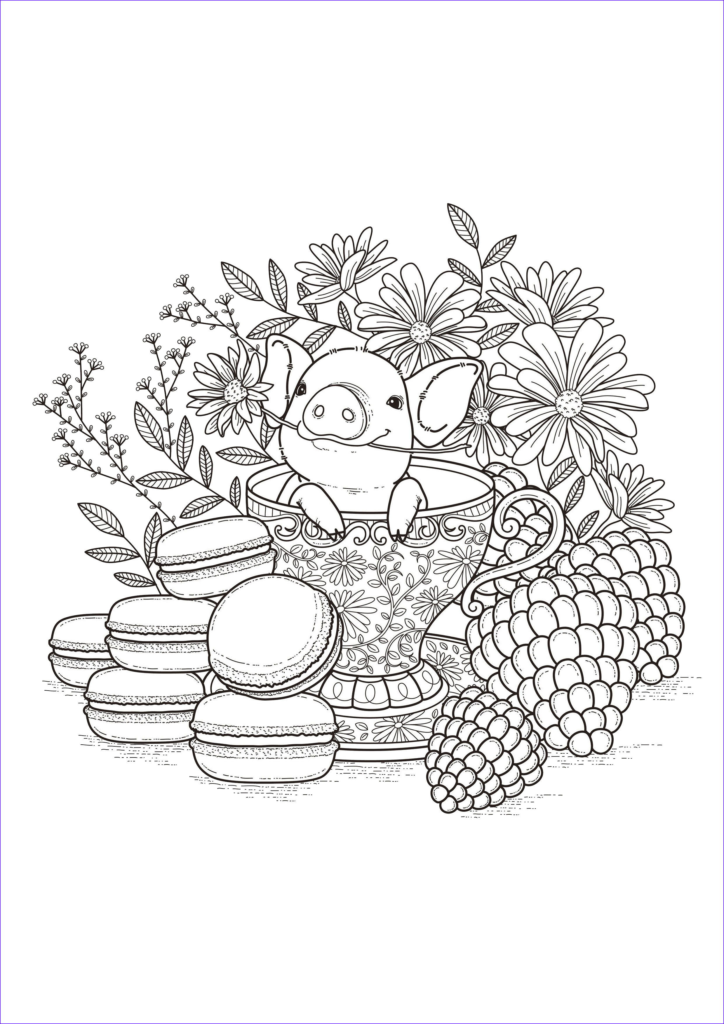 Piggy Coloring Beautiful Collection Food Coloring Pages for Adults