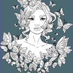 Printable Adult Coloring Awesome Collection Line Artsy Free Adult Coloring Page Butterflies Around