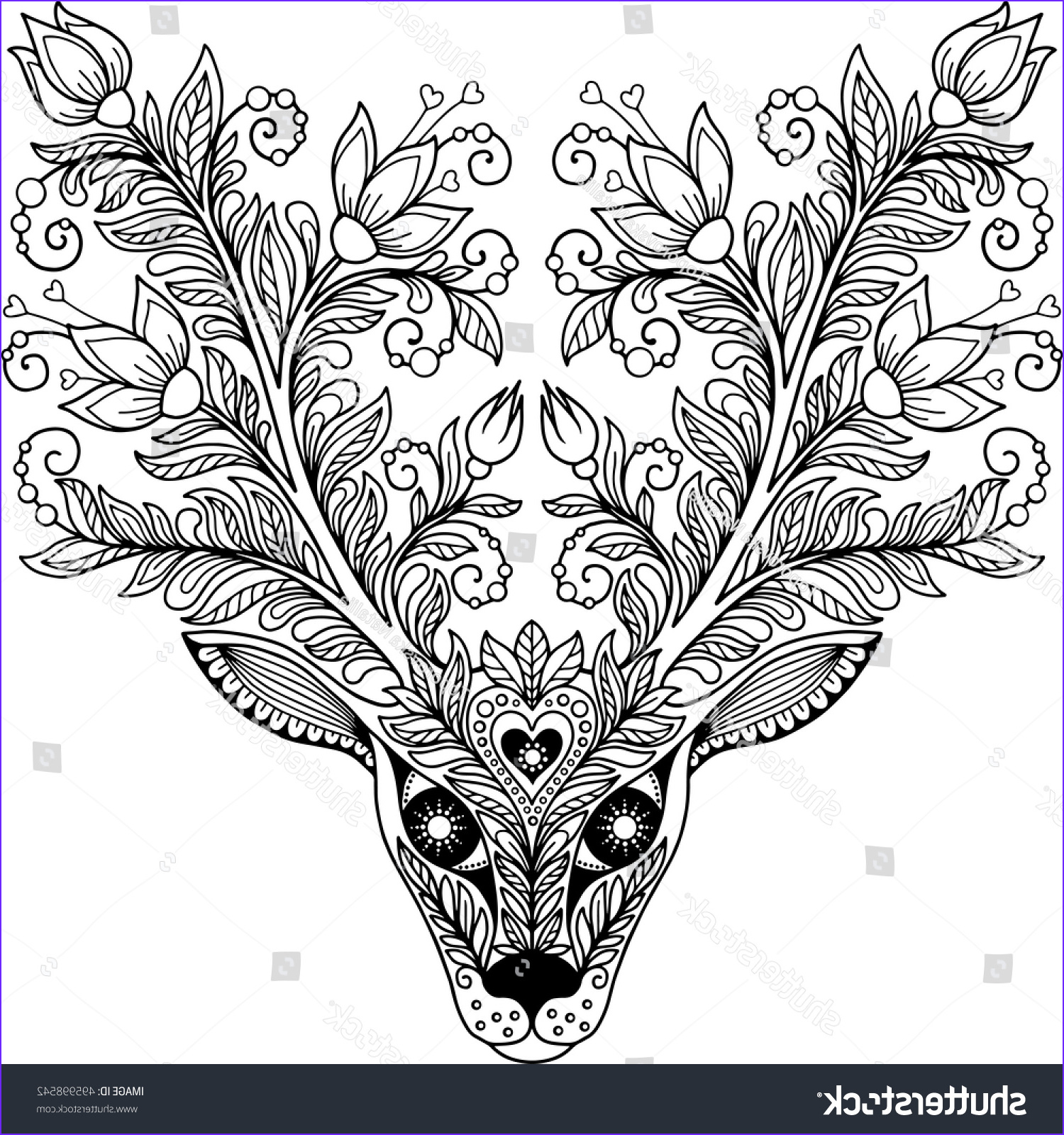 Vector Coloring Page Adult Meditation Relax Stock Vector