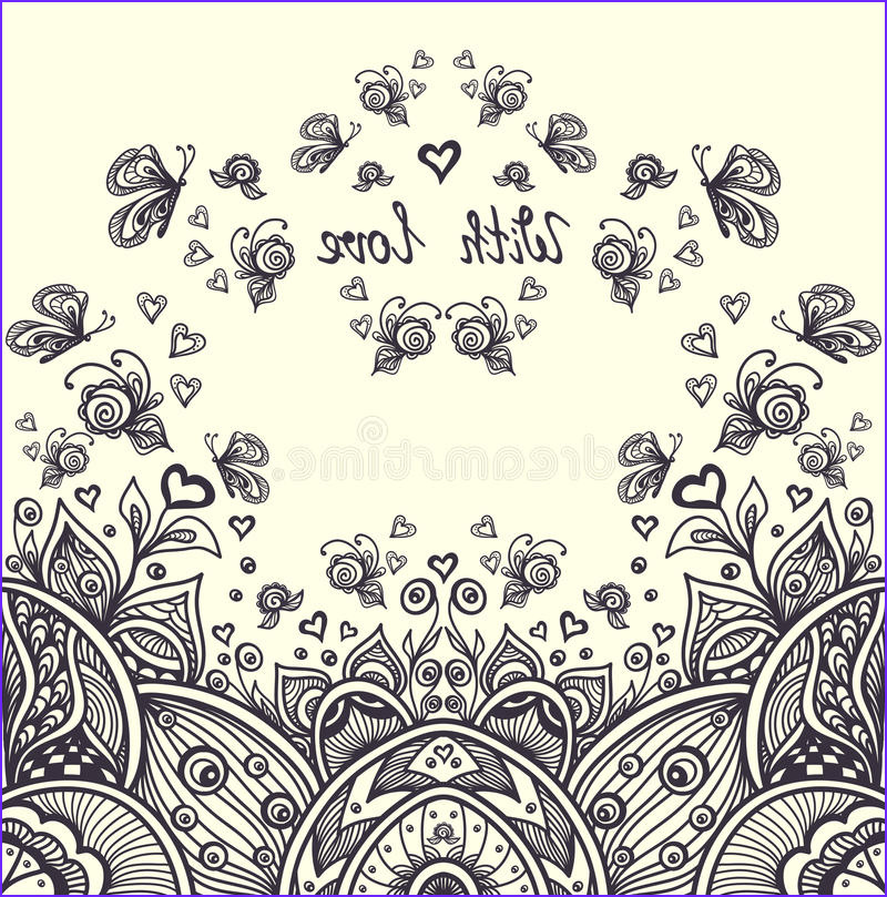 stock illustration abstract romantic landscape zen tangle style relax coloring page black white hearts roses butterflies doodle image