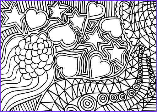 doodle coloring page hearts stars