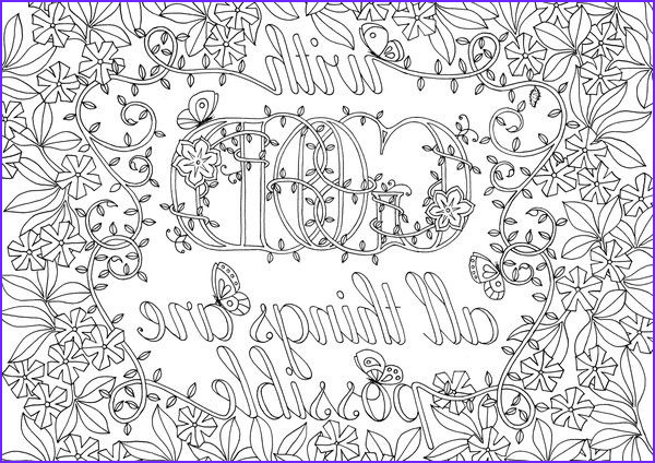 """Scripture Coloring Pages for Adults Elegant Photos """"with God All Things are Possible"""" Download and Colour In"""