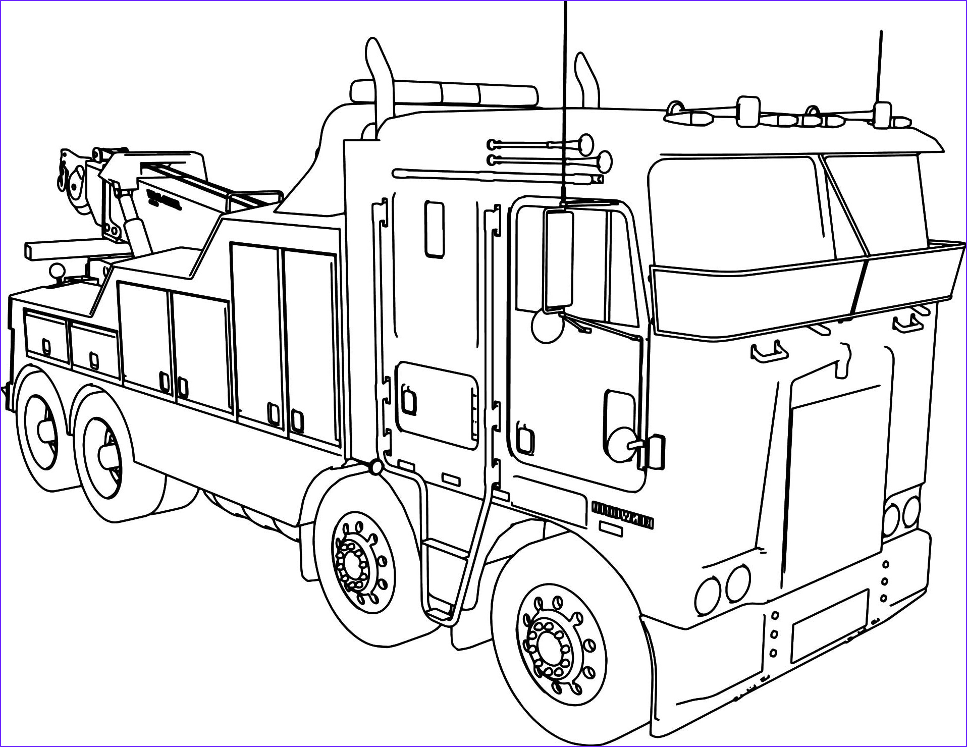 Semi Coloring Awesome Image Semi Truck Line Drawing at Getdrawings