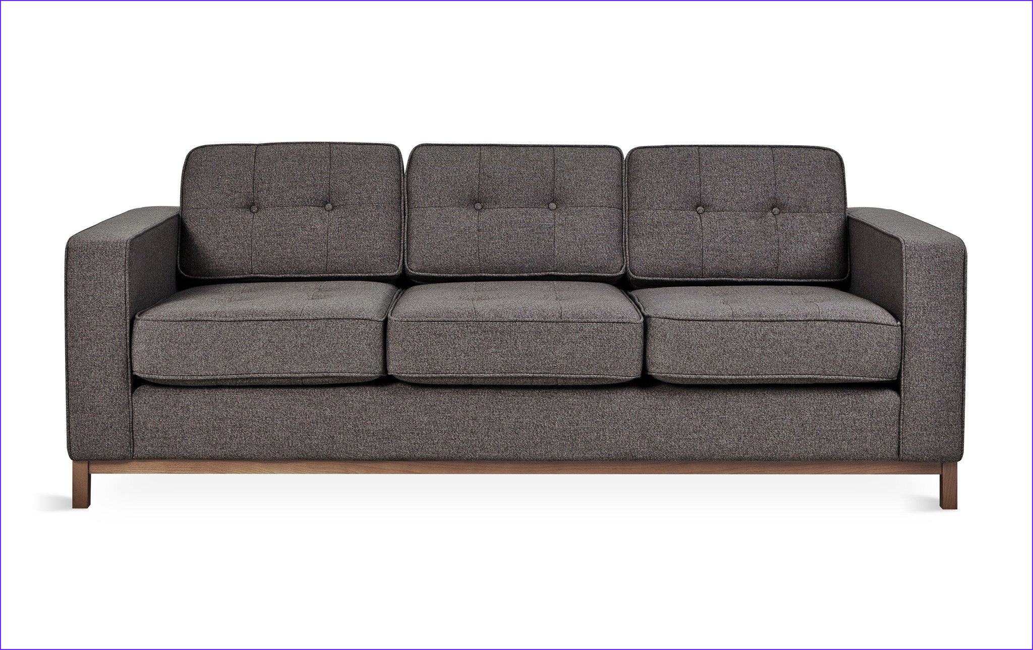 jane sofa in assorted colors w walnut base design by gus modern