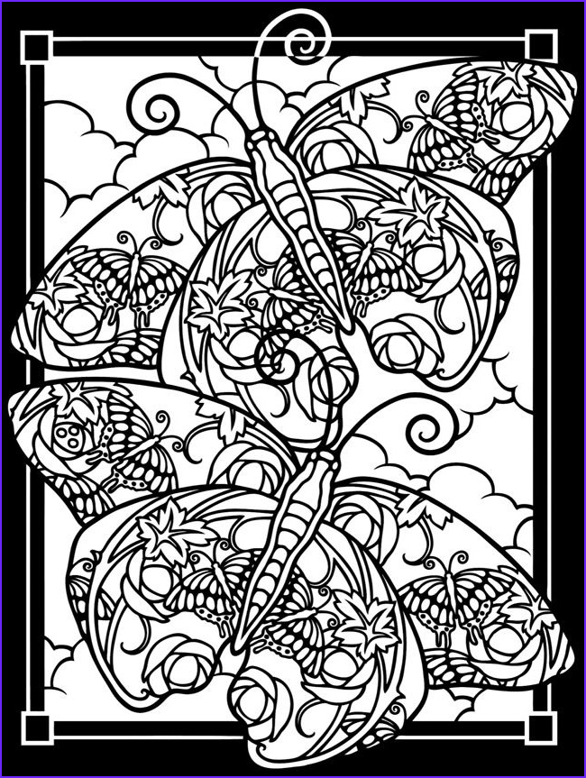 Fanciful Butterflies Stained Glass Coloring Book Dover