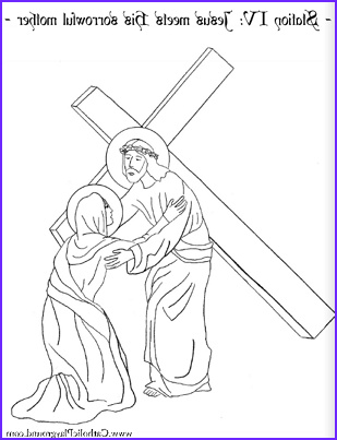 Coloring page for the Fourth Station of the Cross Jesus
