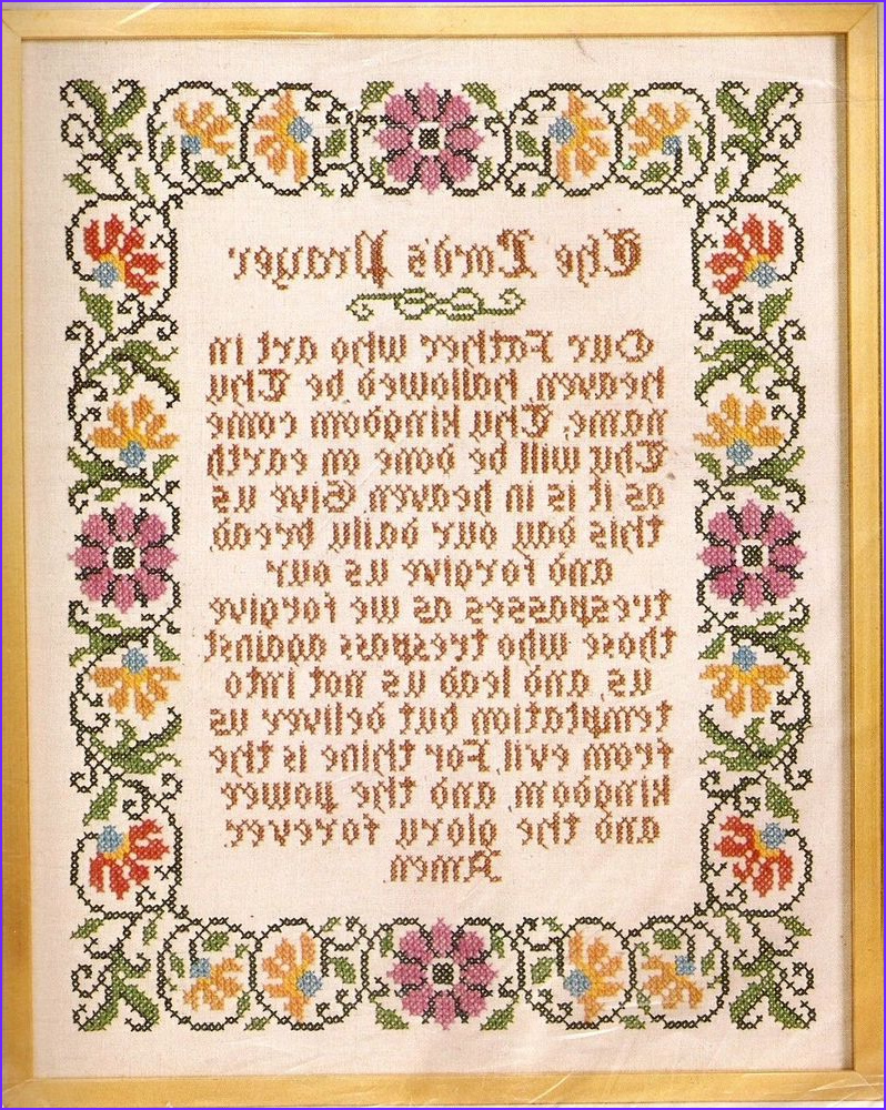 "Vintage ""The Lord s Prayer"" Religious Stamped Cross Stitch"