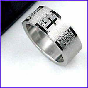 Cross Lord s prayer titanium band ring multiple sizes