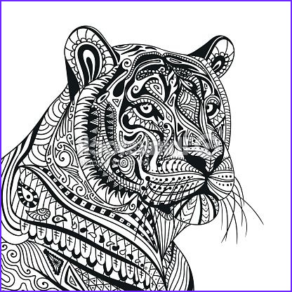 Tiger Coloring Pages for Adults Inspirational Photos Arte Vetorial Vector ornamental Tiger Tigers