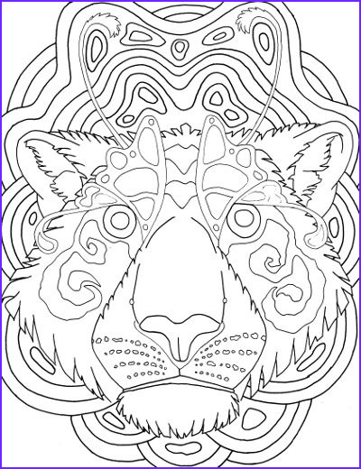 Tiger Coloring Pages for Adults New Stock Tiger Face Mandala Coloring Page for Adults
