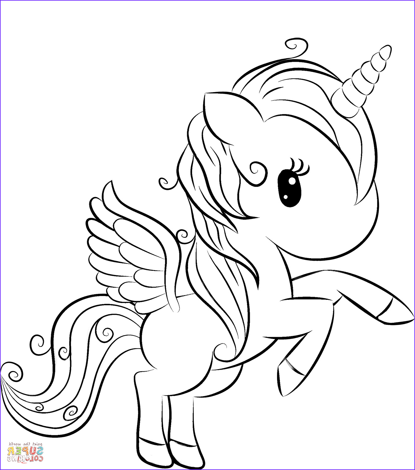 Unicorn Printable Coloring Pages Elegant Images Cute Unicorn Coloring Page