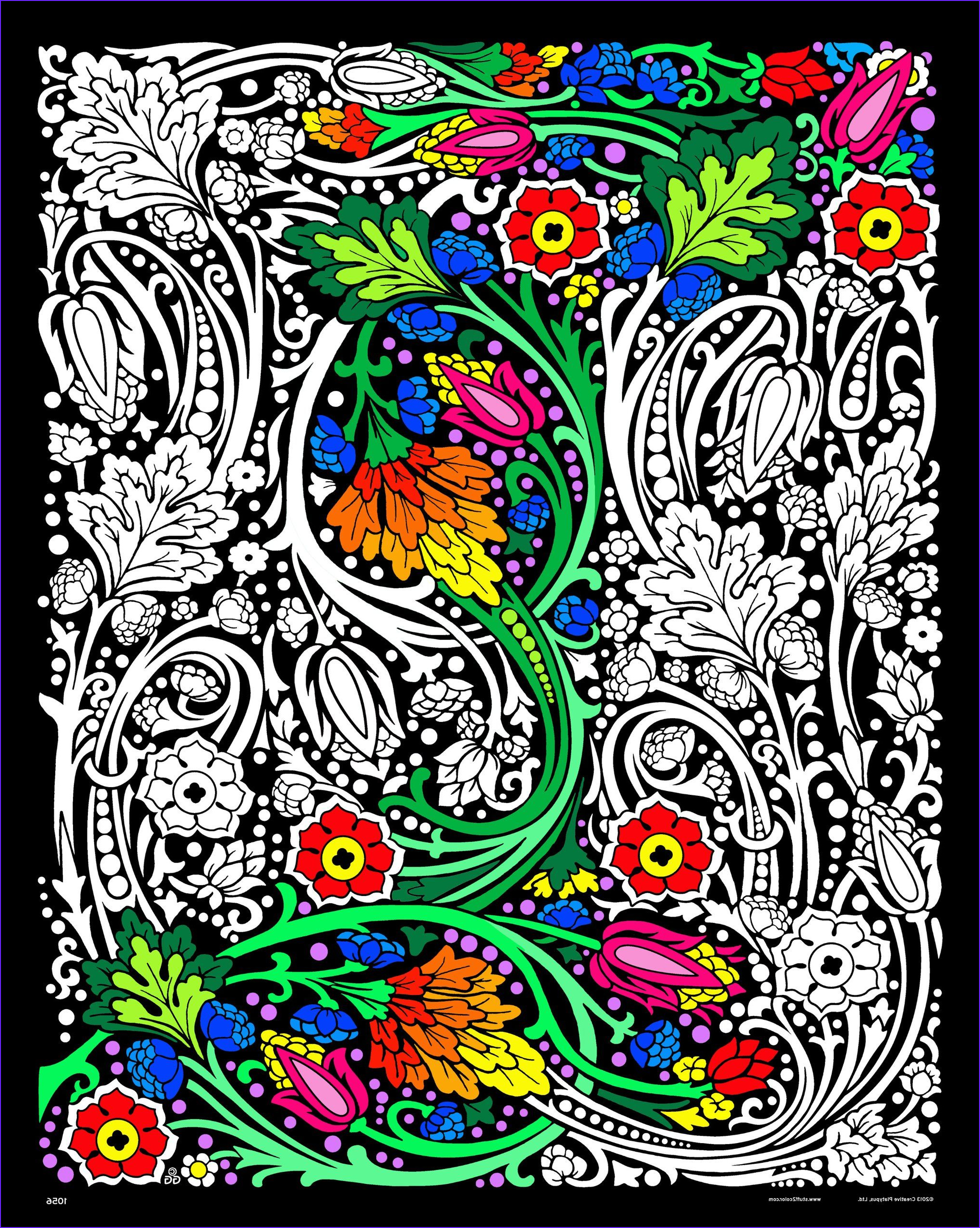 Velvet Coloring Posters Adults Cool Photos Amazon Floral Mania Fuzzy Velvet Poster 16x20