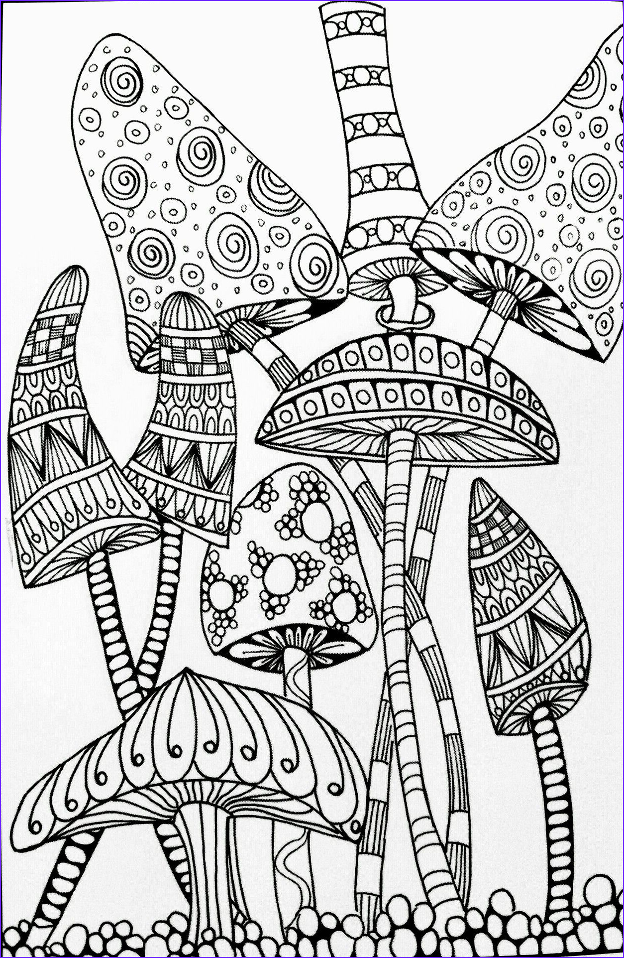 Adults Coloring Beautiful Photos Trippy Mushroom Coloring Pages Free