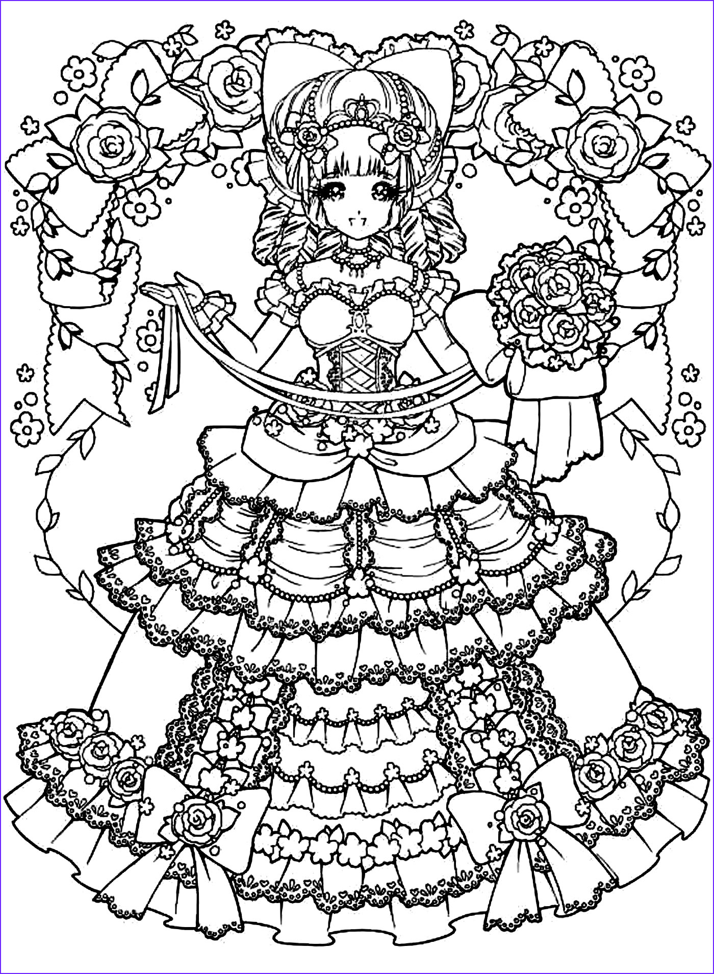 Anime Coloring Pages for Adults Luxury Collection Back to Childhood Manga Girl Dress Manga Anime Adult