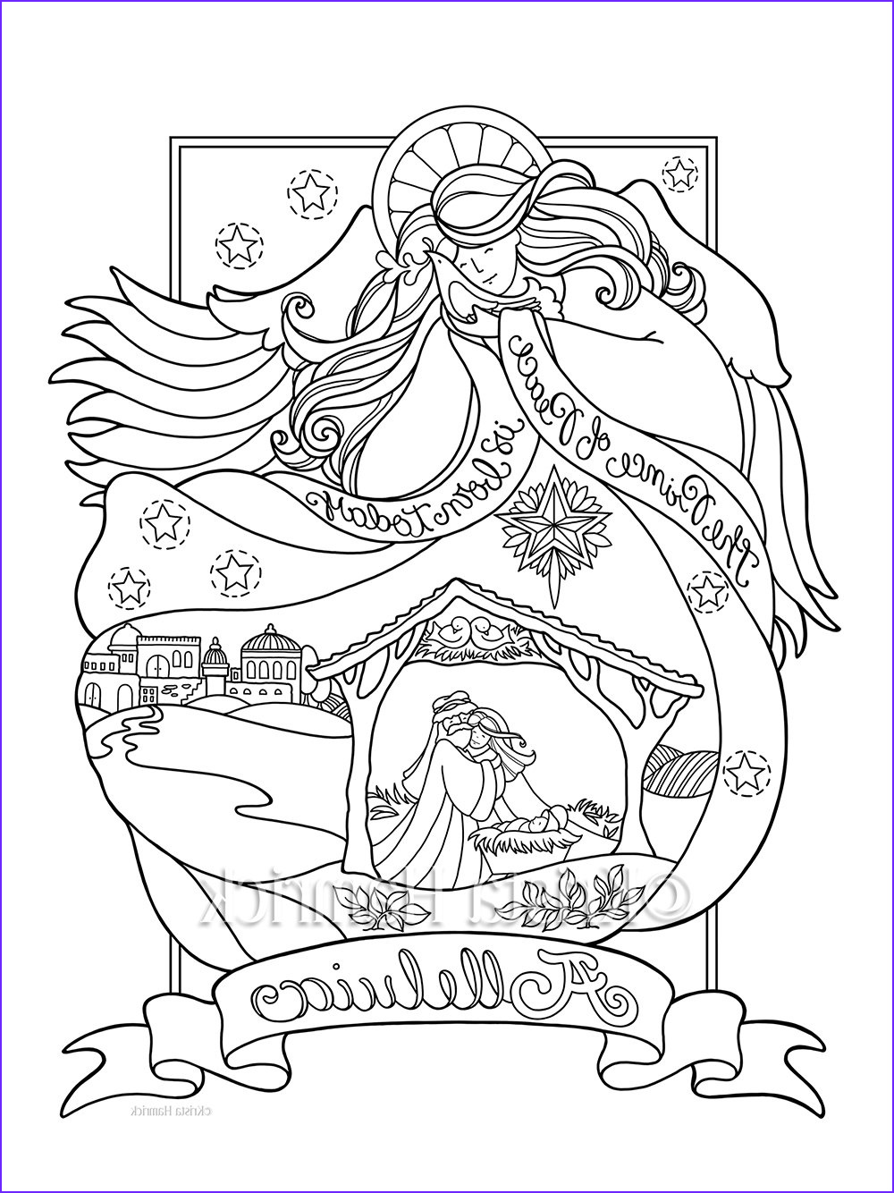 angel nativity coloring page in three ref= 3