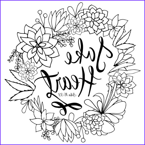 Coloring Canvas Beautiful Stock Take Heart Handlettered Coloring
