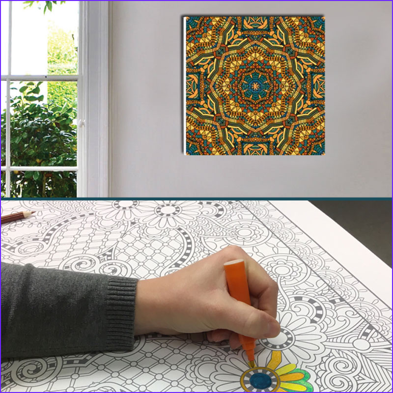 """Coloring Canvas Cool Stock Adult Coloring """"color Your Own"""" Canvas Mandala Prints"""