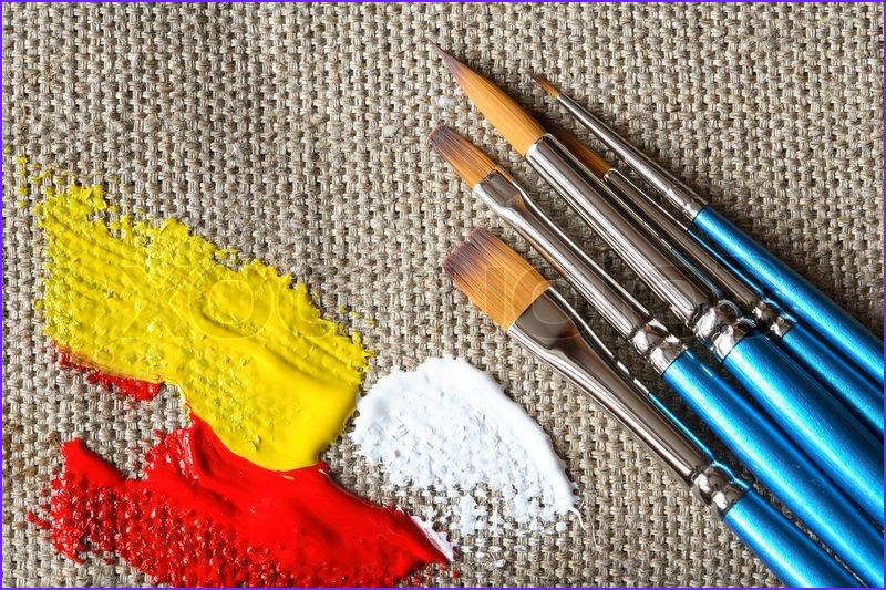 Coloring Canvas Inspirational Photos Set Of Paintbrushes and Color Paint On Canvas Background