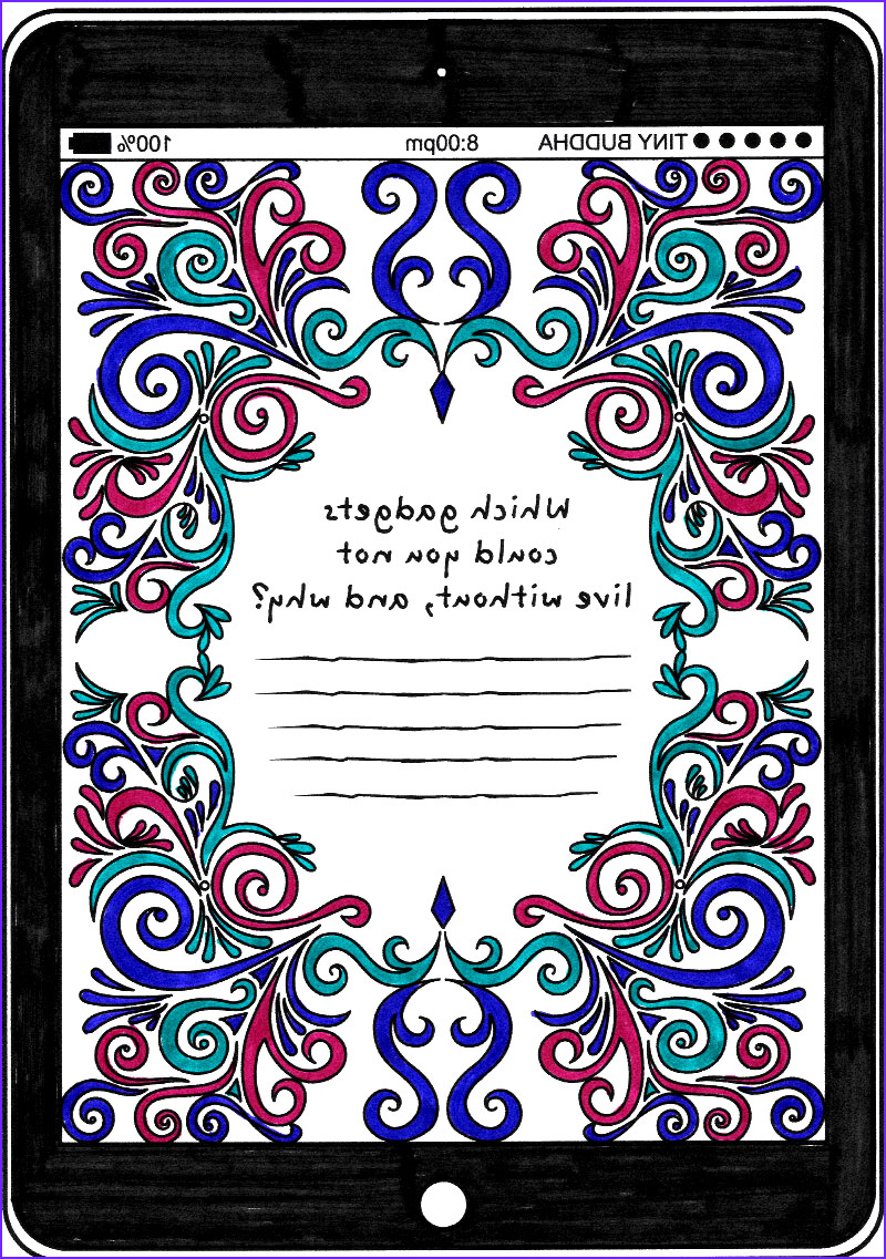 technology coloring page tiny buddhas gratitude journal