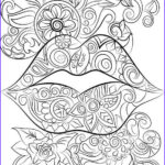 Coloring Lips Cool Photography Lips And Flowers Colouring Page Instant Digital