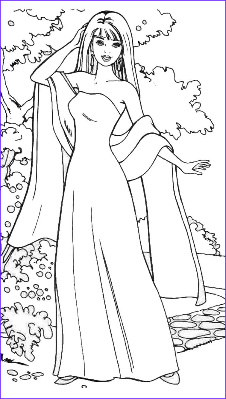 two more coloring pictures of barbie