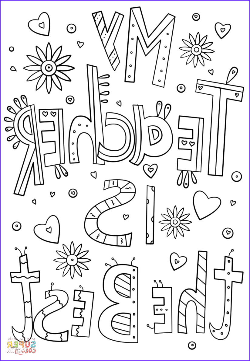 Coloring Pages For Teachers Awesome Photos My Teacher Is The Best Doodle Coloring Page From Teacher