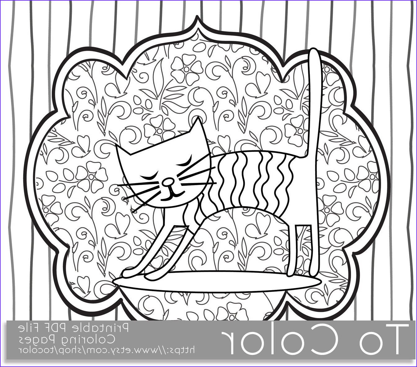 printable whimsical cat coloring page