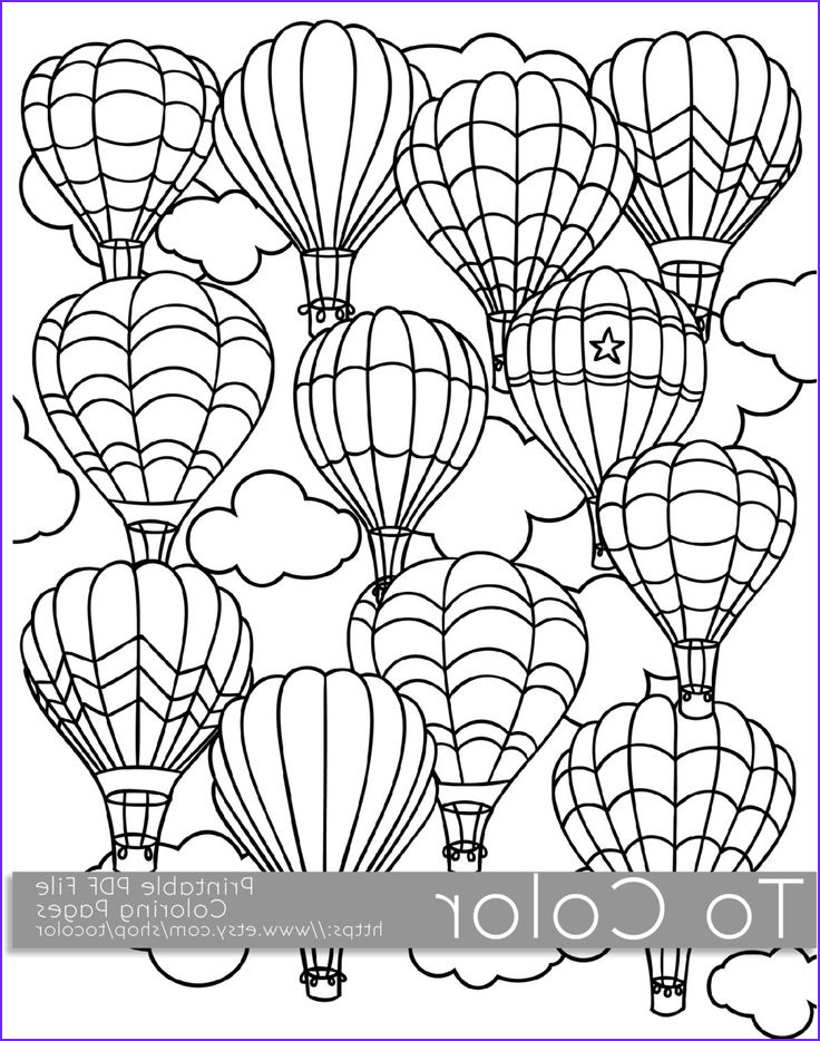 Coloring Pages Pdf Elegant Stock Printable Hot Air Balloon Coloring Page for Adults Pdf