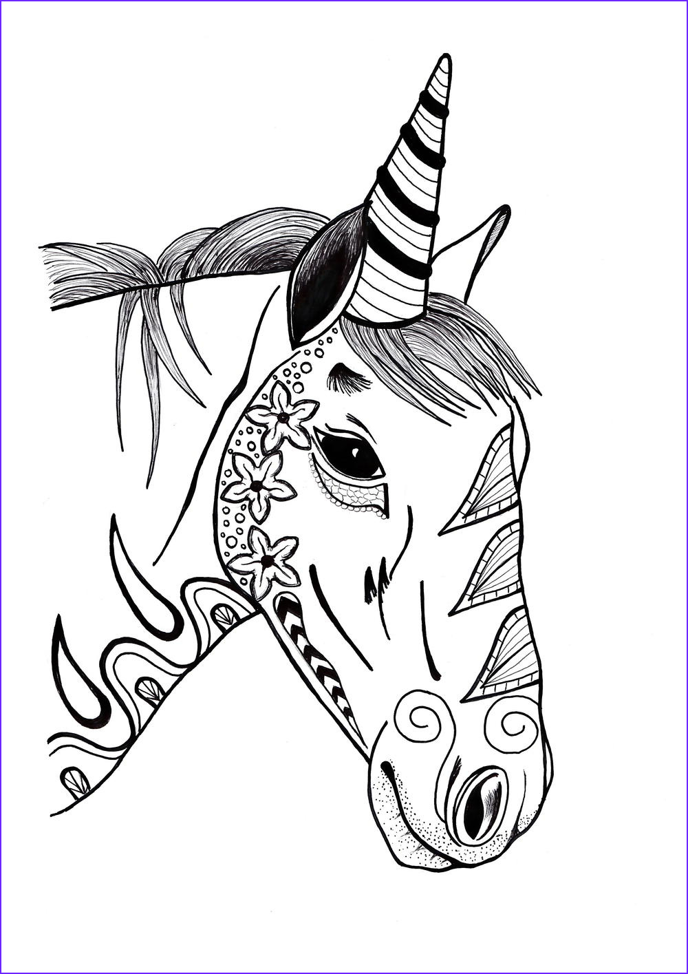 Colorful Unicorn Adult Coloring Page