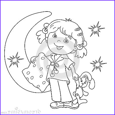 stock illustration coloring page outline cartoon girl pajamas pillow bedtime book kids image