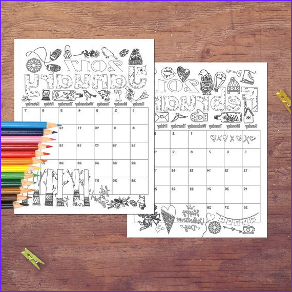 Coloring Planner 2017 Beautiful Image 2017 Coloring Calendar Coloring Pages Instant By